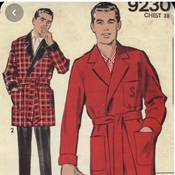 1950s mens red bathrobe
